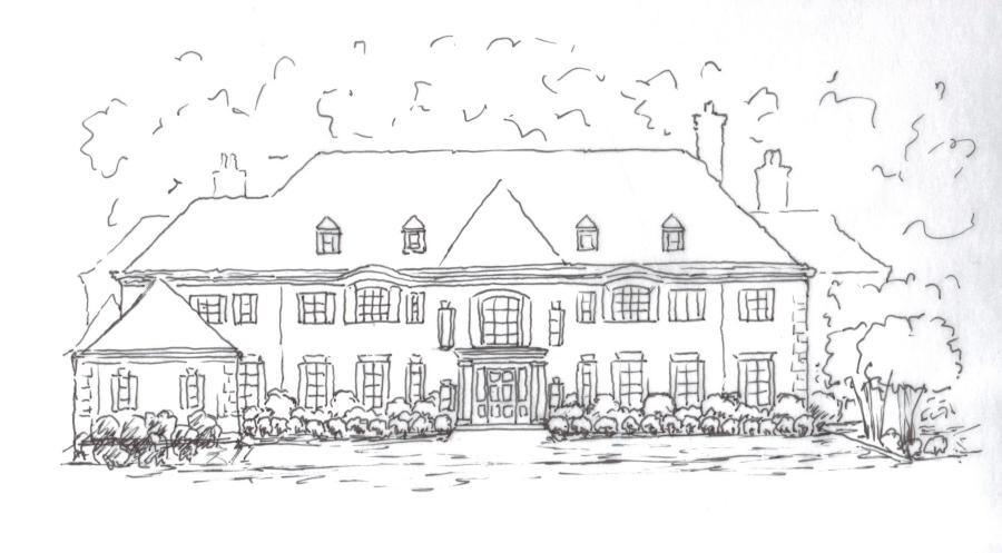 landscape design sketch of house